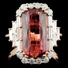 14k Gold 6.17ct Tourmaline & 0.97ct Diamond Ring - by Westbury Auction Galleries, Inc.