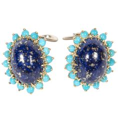 1960s Lapis Lazuli and turquoise Gold Earrings   From a unique collection of vintage clip-on earrings at http://www.1stdibs.com/jewelry/earrings/clip-on-earrings/