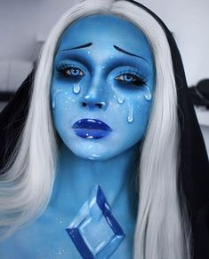 💎 covered himself in our Velocity eyeshadow to become Blue Diamond from Steven Universe! Inspired by 💎 Blue Makeup, Makeup Art, Nyx Cosmetics, Cosplay Make-up, Sfx Make-up, Blue Diamond Steven Universe, Cute Halloween Makeup, Creative Makeup Looks, Circle Lenses