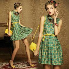 Vintage Lapel Women Floral Print Sleeveless Mini Dress With Belt