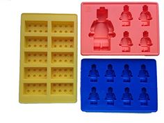 lego minifigure and building brick molds to make jello, crayons, chocolate or gummies!!!