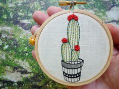 Embroidered Cactus 'Cactus 6' by Cheese by CheeseBeforeBedtime