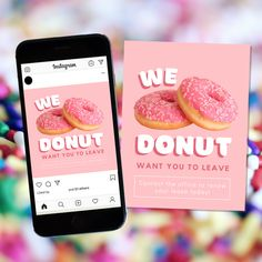"""Want your residents to stay? Let them know with this """"we donut want you to leave"""" renewal gift bundle! Stick the flyer on their door, post it on social media, or give it to them with a sweet treat! #residentretention"""