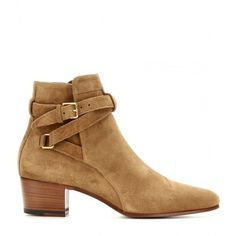 Saint Laurent Blake Suede Ankle Boots (3.060 RON) ❤ liked on Polyvore