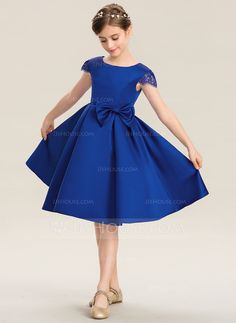 [ A-Line Scoop Neck Knee-Length Satin Junior Bridesmaid Dress With Lace Bow(s) - My WordPress Website Baby Girl Dress Patterns, Baby Girl Dresses, Flower Girl Dresses, Cute Homecoming Dresses, Junior Bridesmaid Dresses, Satin Dresses, Lace Dress, Baby Princess Dress, Simple Gowns