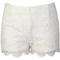 Allyson Crochet Vintage Detail Shorts in Cream (49 BRL) ❤ liked on Polyvore featuring shorts, bottoms, pants, cream, vintage shorts, cream crochet shorts, macrame shorts, crochet shorts and cream shorts