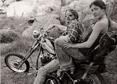 1970s sexy biker couple chopper