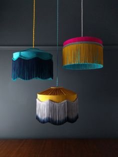 New color alert.T I F F A N Y cluster shades and pendants, now in teal, musta. Gold Silk, Pink Silk, Green Silk, Lamp Shades, Light Shades, Ramadan Decoration, Table Diy, Vintage Chic, Design Light