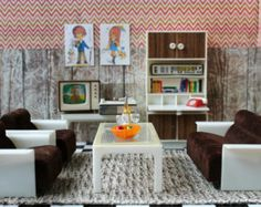 Vintage Plastic Modella Dollhouse Furniture TV Lounge Sofa Telephone Desk Wall Unit