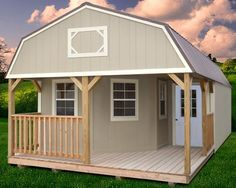 tuff shed cabin | Painted Deluxe Lofted Barn Cabin