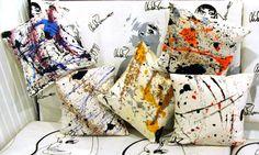 Handpainted throw pillows. LindaMason.com