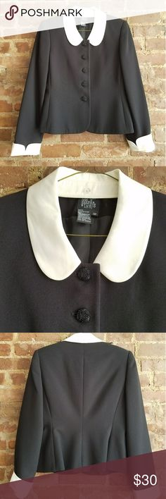 Black career jacket with white trim size 6p Black career jacket with white trim, size 6p. Excellent condition,  only used a few times. The white collar and bottom of sleeves can be removed to make it all black.  Buttons are a bit sparkly :) Jackets & Coats Blazers