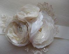 Vintage bridal sash Ivory Beige Champagne 3 flower romantic - ribbon belt dress sash sand camel lace pearl vintage rustic weddings