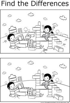 Kids will enjoy finding the differences between the two pictures of kids playing with blocks in this printable coloring page for kids.