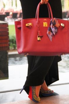 Classic Loubitons and red Birkin to match the soles perfection.