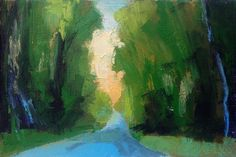 """Road, Spring, oil, 4 x 6"""", © Mary Bentz Gilkerson"""