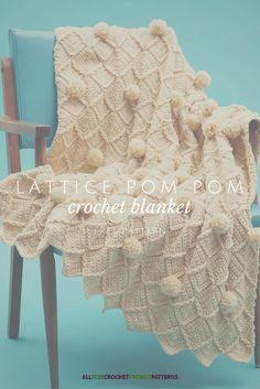 Look at those pom poms! Cute crochet blanket pattern.