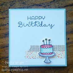 Endless Birthday Wishes notecard. Using Pool Party & Watermelon Wonder combo ❤ Made by Denita Wright - Independent Stampin' Up! Demonstrator Australia