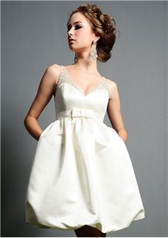 """$91.99, [Short Wedding Dresses] Sweetheart Neck Weddings Backyard Dresses Pearls Without Sleeves """"Dark-colored Lace Wedding Dresses, Metallic Bridal Wear"""" Ruched Convertible Cutest Little Bride Sequin Low Backs Hoop Skirt Weddings Cathedral Gown Satin Long To Short Without Sleeves Sweetheart Neckline Empire Waist Strap."""