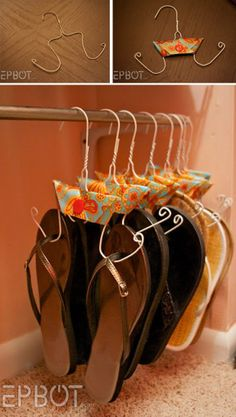 Shouldn't have gotten rid of all my wire hangers… M… DIY Flip Flop Storage. Shouldn't have gotten rid of all my wire hangers… Flip Flop Storage, Shoe Storage, Attic Storage, Shoe Shelve, Purse Storage, Cheap Storage, Diy Storage, Storage Ideas, Creative Storage