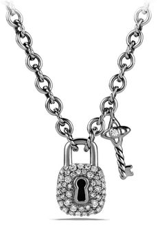 David Yurman 'Cable Collectibles®' Lock and Key Charm Necklace with Diamonds
