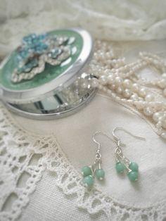 Turquoise jade earrings. Hand made jewelry on www.varalusikka.fi