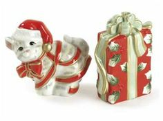 Fitz and Floyd Kitty Kringle Salt and Pepper by Fitz and Floyd. $17.95. Food safe.. Completely food-safe. 2-3/4-Inch hand-painted salt and pepper pair. Hand wash using a mild detergent. Food safe. With this hand-painted salt and pepper pair, no mischief is too much for the green-eyed little feline.
