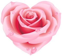 Large Pink Rose Heart Clipart
