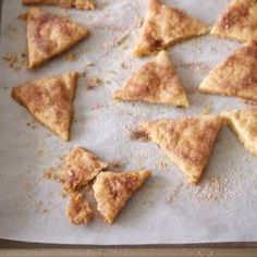 Pie Crust Cookies.  Super flaky and crispy cookies with cinnamon sugar that use leftover pie crust!