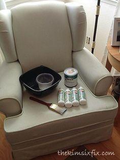 How to Paint Upholstery (Latex Paint and Fabric Medium) via TheKimSixFix.com.  Hmmmm....I guess I'm game. :)