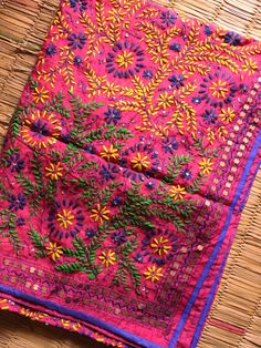 Buy Multicolor HandEmbroidery on Pink Chanderi Phulkari . Mexican Embroidery, Hand Work Embroidery, Hand Embroidery Stitches, Phulkari Suit, Patiala Salwar Suits, Indian Textiles, Indian Fabric, Punjabi Dress, Punjabi Suits