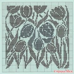 . Туника в филейной технике - Вязание - Страна Мам Lace Knitting Patterns, Knitting Charts, Afghan Crochet Patterns, Knitting Stitches, Crochet Tablecloth Pattern, Fillet Crochet, Crochet Diagram, Monochrom, Crochet Blouse
