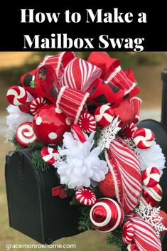 Mailbox swags are so much fun to make! I love to make them for each season and they are a great way to add a little cheer to your yard. Holiday mailbox swags are some Mailbox Swag Christmas, Christmas Mailbox Decorations, Christmas Front Doors, Christmas Swags, Outdoor Christmas, Christmas Balls, Christmas Ornaments, Mailbox Decorating, Decorating Ideas