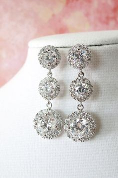 Heather Luxe Cubic Zirconia Round Drop Earrings Halo style