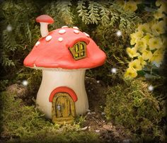Fairy Home Mushroom  red by HiddenWorlds on Etsy, $30.00