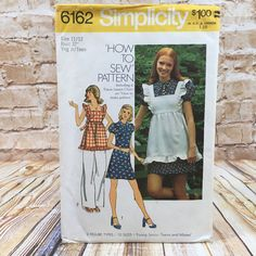 Vintage Simplicity 6162 Teen Ruffled Pinafore Short Mini A Line Dress Sz 11 12 #simplicity #Dress