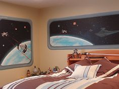 Star Wars custom bedroom murals. I love this!