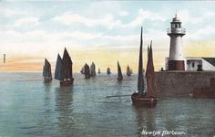 NEWLYN, Cornwall, Sailing Fleet & Lighthouse - Vintage Colour Postcard in Collectables, Postcards, Topographical: British | eBay