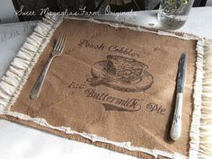 "Burlap Table Placemats - ""Peach Cobbler and Buttermilk Pie"" Kitchen  Farmhouse Style Country Shabby Cottage Chic Ruffle Southern Saying by SweetMagnoliasFarm on Etsy https://www.etsy.com/listing/207255055/burlap-table-placemats-peach-cobbler-and"