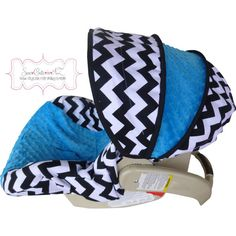 Black and White Chevron with Azure Infant Car Seat by sewcuteinaz, $65.00