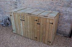 Houses three wheelie bins or three standard dustbins.