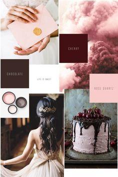 Moodboard Monday Life is sweet // Chocolate Brown Braun, Cherry Red Dunkelrot, Pantone Farbe 2016 Rose Quartz, Hochzeitstorte, Kirschen, Hochzeitsdekoration, Konzept, Wedding Design, Papeterie