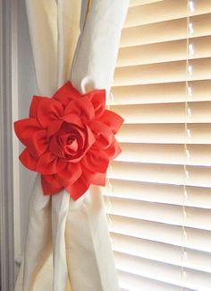 Curtain Tie backs, Holdback, Set of two, Coral Home Decor, Nursery, Window Decor -MANY COLORS-