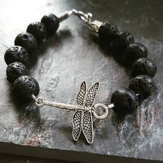 Black Lava Stone & Silver Dragonfly Aromatherapy Diffuser bracelet// Essential Oil Jewelry by ShopWhiteLotus on Etsy