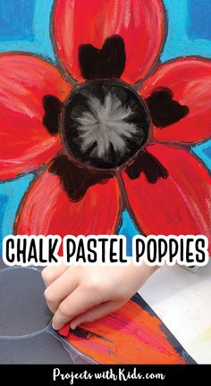 Kids will be inspired by Georgia O'Keeffe and her beautiful flower paintings to create these gorgeous chalk pastel poppies! This art project also makes a perfect Remembrance Day craft idea. Painting Activities, Art Activities For Kids, Kids Crafts, Chalk Pastel Art, Chalk Pastels, Abstract Art For Kids, Painting For Kids, Free Printable Art, Printable Crafts