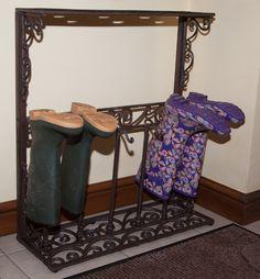 """""""Bocassio"""" Venetian inspired wellington boot rack - Boot and Welly Racks - Boot Accessories - Garden & Outdoor Living - Catalogue Boot Rack, Wellington Boot, Venetian, Outdoor Gardens, Metal Working, Entryway Tables, Outdoor Living, Home Improvement, Iron"""