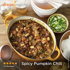 "Spicy Pumpkin Chili | ""It's amazing that you can't tell there's a giant can of pumpkin in this chili. What a great way to hide extra veggies in your diet."""