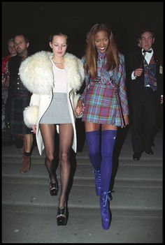 Kate Moss and Naomi Campbell way back when... in a total Cher/Dionne moment