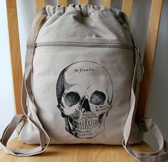 Skull+Screen+Printed+Canvas+Backpack+by+catbirdcreatures+on+Etsy,+$20.00