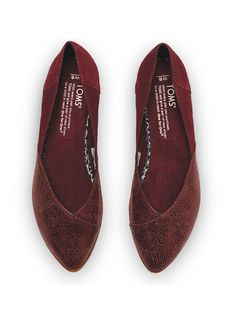 A deep red leather flat is a holiday must-have.   #TOMS Jutti flats.
